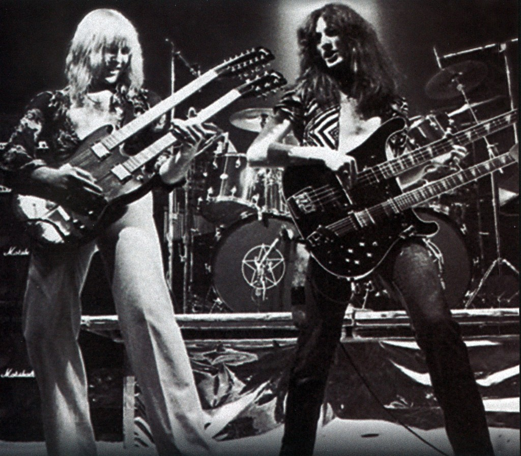Lifeson and Lee with their stacked guitars