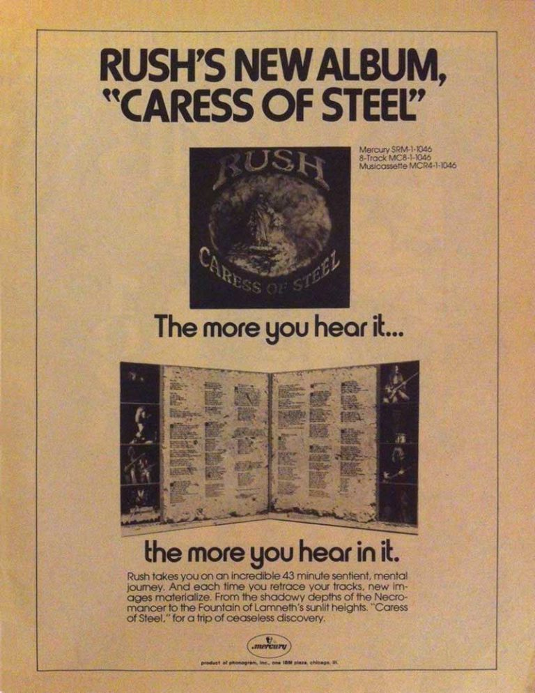 Mercury Records magazine ad for Caress of Steel