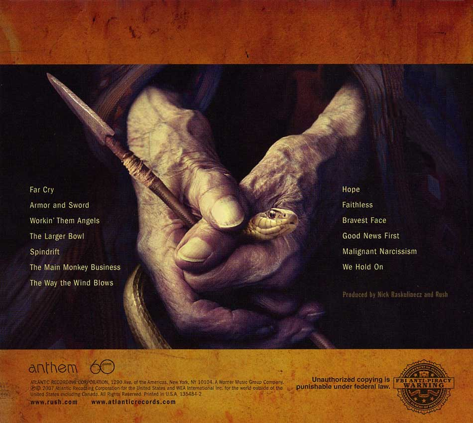 Snakes and Arrows back cover art
