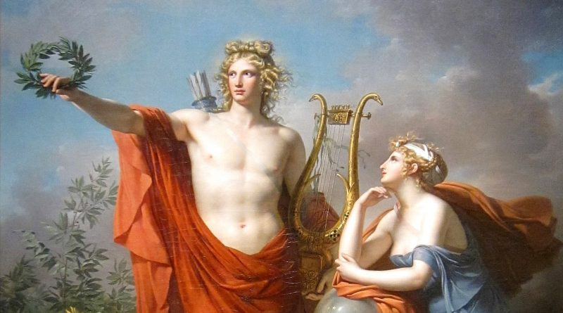 Apollo, God of Light with Urania, Muse of Astronomy is a painting by Charles Meynier